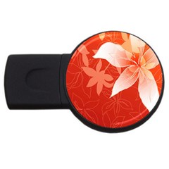 Lily Flowers Graphic White Orange Usb Flash Drive Round (2 Gb)
