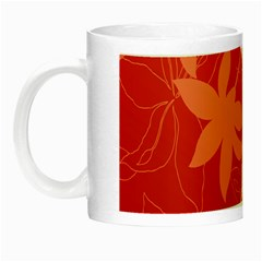 Lily Flowers Graphic White Orange Night Luminous Mugs