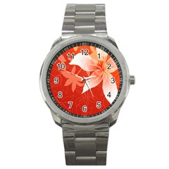 Lily Flowers Graphic White Orange Sport Metal Watch