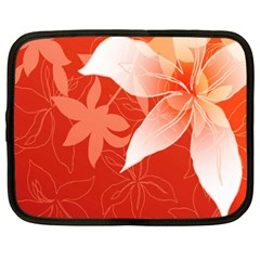 Lily Flowers Graphic White Orange Netbook Case (xxl)  by Alisyart