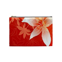 Lily Flowers Graphic White Orange Cosmetic Bag (medium)