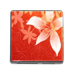 Lily Flowers Graphic White Orange Memory Card Reader (square)