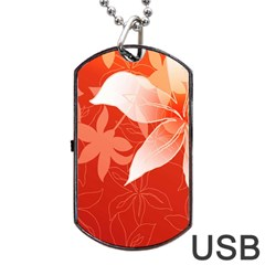 Lily Flowers Graphic White Orange Dog Tag Usb Flash (two Sides)