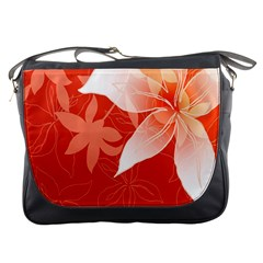 Lily Flowers Graphic White Orange Messenger Bags by Alisyart