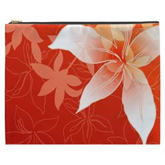 Lily Flowers Graphic White Orange Cosmetic Bag (xxxl)