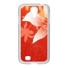 Lily Flowers Graphic White Orange Samsung Galaxy S4 I9500/ I9505 Case (white)