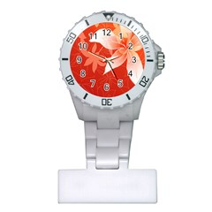 Lily Flowers Graphic White Orange Plastic Nurses Watch by Alisyart