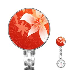 Lily Flowers Graphic White Orange Stainless Steel Nurses Watch by Alisyart