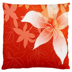 Lily Flowers Graphic White Orange Large Flano Cushion Case (two Sides)