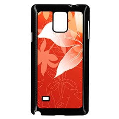 Lily Flowers Graphic White Orange Samsung Galaxy Note 4 Case (black)