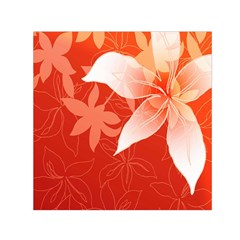 Lily Flowers Graphic White Orange Small Satin Scarf (square)