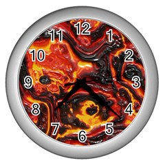 Lava Active Volcano Nature Wall Clocks (silver)  by Alisyart