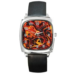 Lava Active Volcano Nature Square Metal Watch