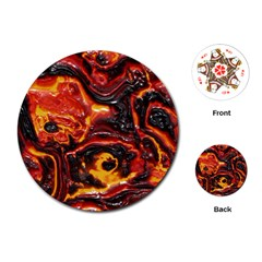 Lava Active Volcano Nature Playing Cards (Round)
