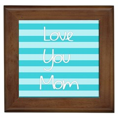 Love You Mom Stripes Line Blue Framed Tiles
