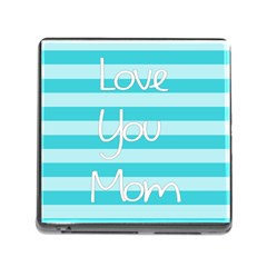 Love You Mom Stripes Line Blue Memory Card Reader (square) by Alisyart
