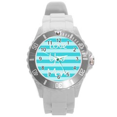 Love You Mom Stripes Line Blue Round Plastic Sport Watch (l) by Alisyart
