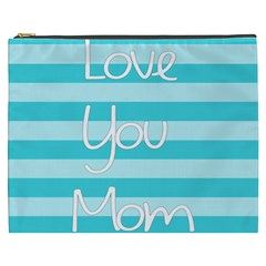 Love You Mom Stripes Line Blue Cosmetic Bag (xxxl)