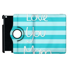 Love You Mom Stripes Line Blue Apple Ipad 2 Flip 360 Case