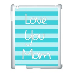 Love You Mom Stripes Line Blue Apple Ipad 3/4 Case (white)