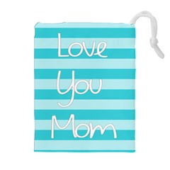 Love You Mom Stripes Line Blue Drawstring Pouches (extra Large) by Alisyart