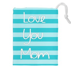 Love You Mom Stripes Line Blue Drawstring Pouches (xxl) by Alisyart