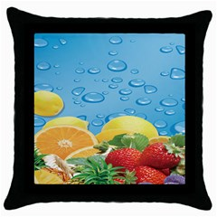 Fruit Water Bubble Lime Blue Throw Pillow Case (black) by Alisyart