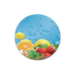 Fruit Water Bubble Lime Blue Magnet 3  (round) by Alisyart
