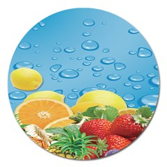Fruit Water Bubble Lime Blue Magnet 5  (round) by Alisyart