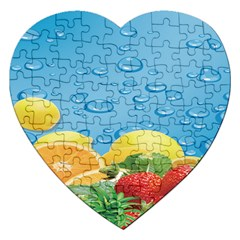 Fruit Water Bubble Lime Blue Jigsaw Puzzle (heart)