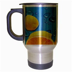 Fruit Water Bubble Lime Blue Travel Mug (silver Gray) by Alisyart