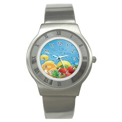 Fruit Water Bubble Lime Blue Stainless Steel Watch by Alisyart