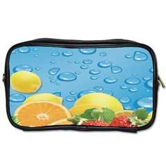 Fruit Water Bubble Lime Blue Toiletries Bags by Alisyart