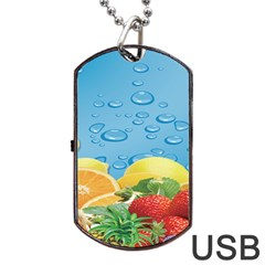 Fruit Water Bubble Lime Blue Dog Tag Usb Flash (two Sides) by Alisyart