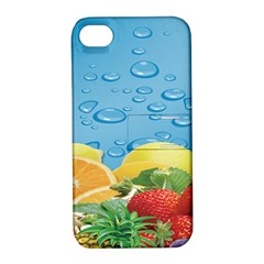 Fruit Water Bubble Lime Blue Apple Iphone 4/4s Hardshell Case With Stand