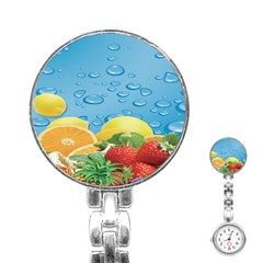 Fruit Water Bubble Lime Blue Stainless Steel Nurses Watch