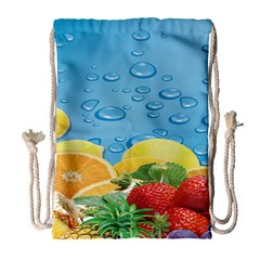 Fruit Water Bubble Lime Blue Drawstring Bag (large) by Alisyart