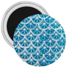 Lime Blue Star Circle 3  Magnets by Alisyart