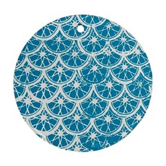 Lime Blue Star Circle Ornament (round)