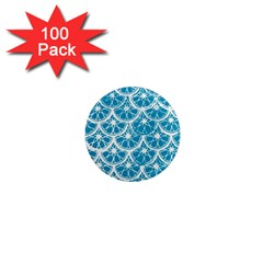 Lime Blue Star Circle 1  Mini Magnets (100 Pack)  by Alisyart
