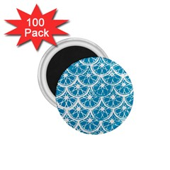 Lime Blue Star Circle 1 75  Magnets (100 Pack)  by Alisyart