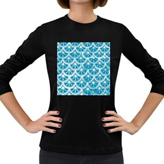 Lime Blue Star Circle Women s Long Sleeve Dark T Shirts