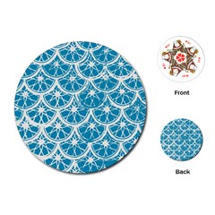 Lime Blue Star Circle Playing Cards (round)