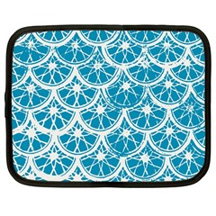 Lime Blue Star Circle Netbook Case (large)