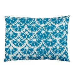 Lime Blue Star Circle Pillow Case (two Sides) by Alisyart