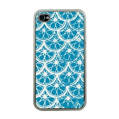 Lime Blue Star Circle Apple Iphone 4 Case (clear)