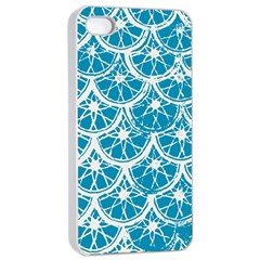 Lime Blue Star Circle Apple Iphone 4/4s Seamless Case (white)