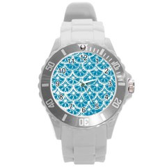Lime Blue Star Circle Round Plastic Sport Watch (l)