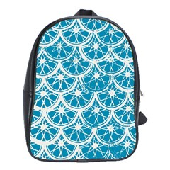 Lime Blue Star Circle School Bags (xl)  by Alisyart