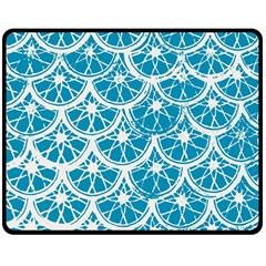 Lime Blue Star Circle Double Sided Fleece Blanket (medium)  by Alisyart